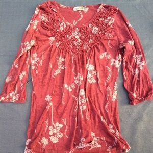 womens size M tunic by unity world wear red floral